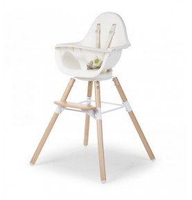 Chaise haute Evolu One.80° Childwood Naturel Blanc